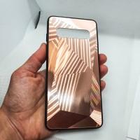 Чехол накладка для Samsung Galaxy S10 Krystal розовое золото