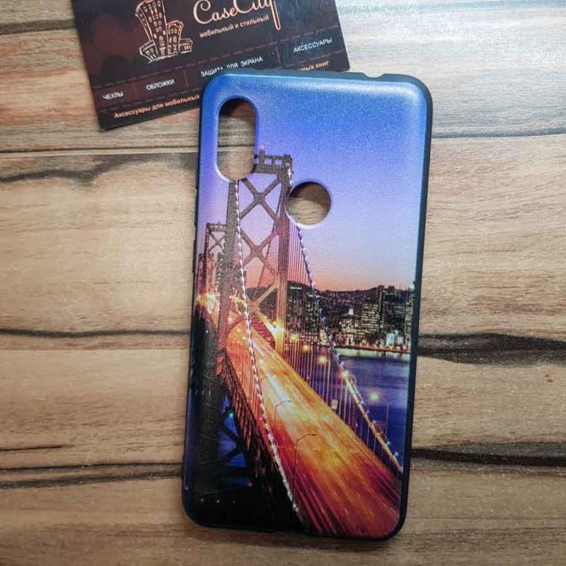 Чехол накладка для Samsung Galaxy A8 Plus / A730F с рисунком Ночной мост