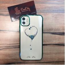 """Силиконовый чехол для Apple iPhone 11, белый c зелеными бортами узор """"Сердечко"""""""