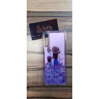Чехол пересыпка для Samsung Galaxy А70, фиолетовый с картинкой