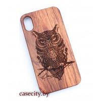 Чехол для iPhone X деревянный сова
