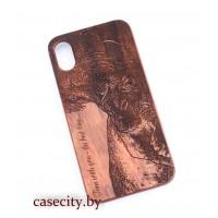 Чехол для iPhone X деревянный тигр