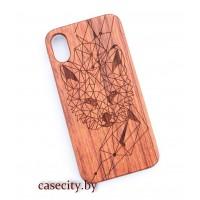 Чехол для iPhone X деревянный геометрия