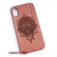 Чехол для iPhone X деревянный лев