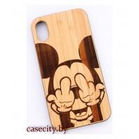 Чехол для iPhone X деревянный Микки Маус
