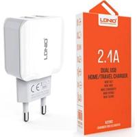 Сетевое устройство для зарядки аккумуляторов A2202  2USB порта белый LDNIO   с кабелем micro   2,1A