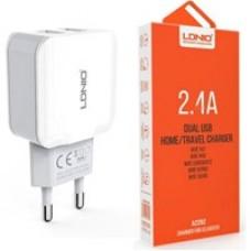 Сетевое устройство для зарядки аккумуляторов A2202 2USB порта белый  LDNIO 2,1A